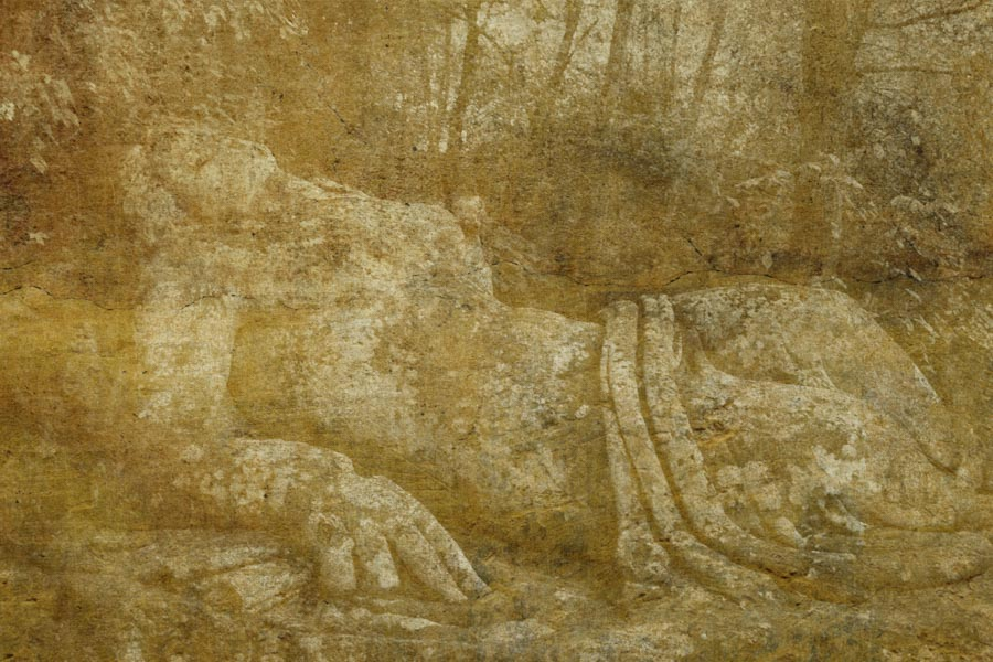 Visualizing Sacred Grove, Gardens of Bommarzo, Italy ref# 0110_gold_fresco
