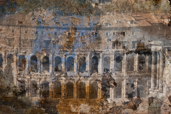 Theatre of Marcellus (pewter and misty blue) Rome ref# 5777_layer