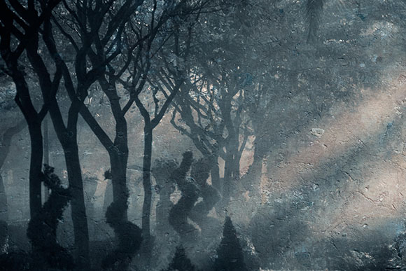 Dancing Trees - Foggy Ragusa, Sicily ref #8753_blue_fresco